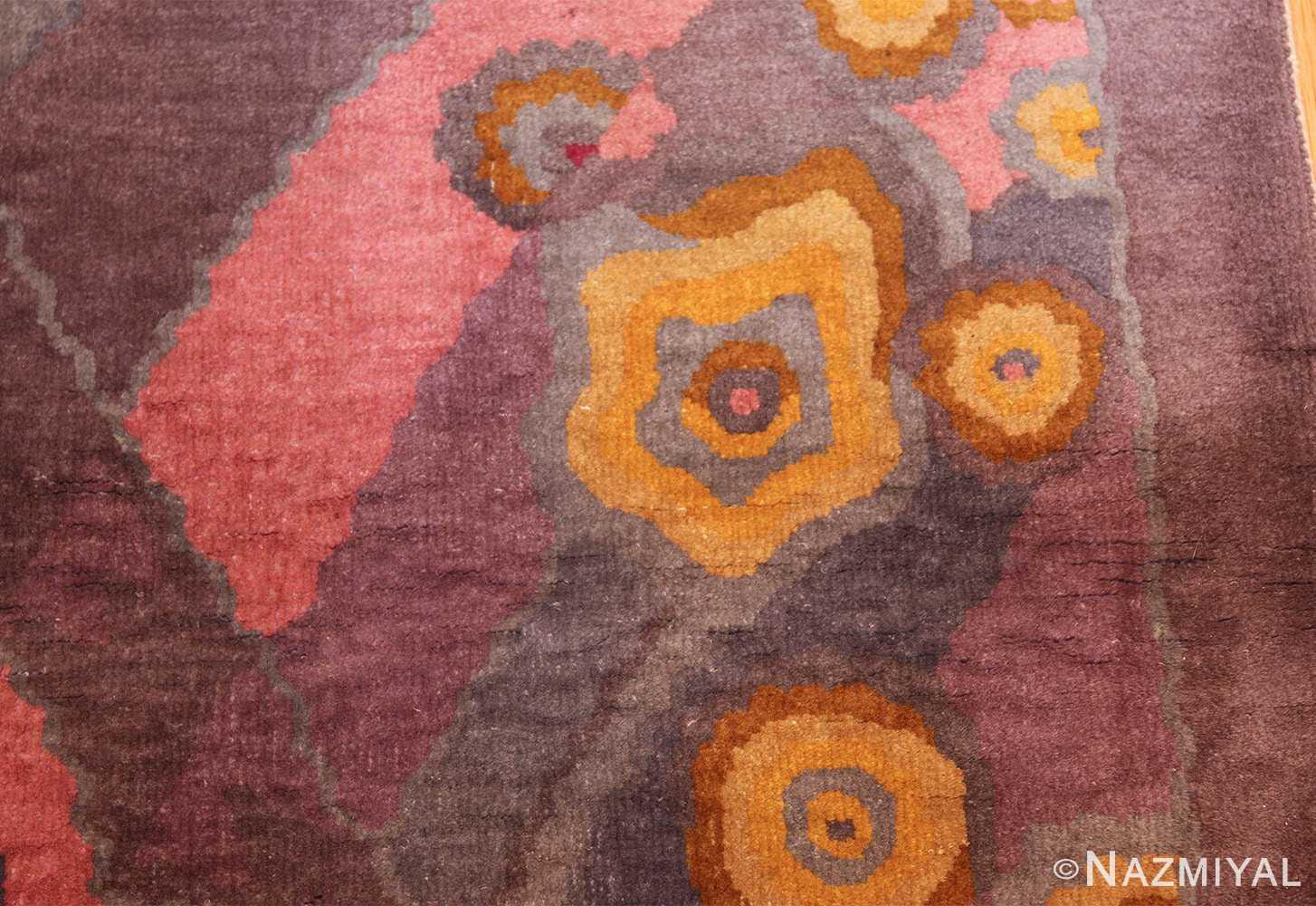 small geometric vintage chinese art deco rug 418 flower Nazmiyal