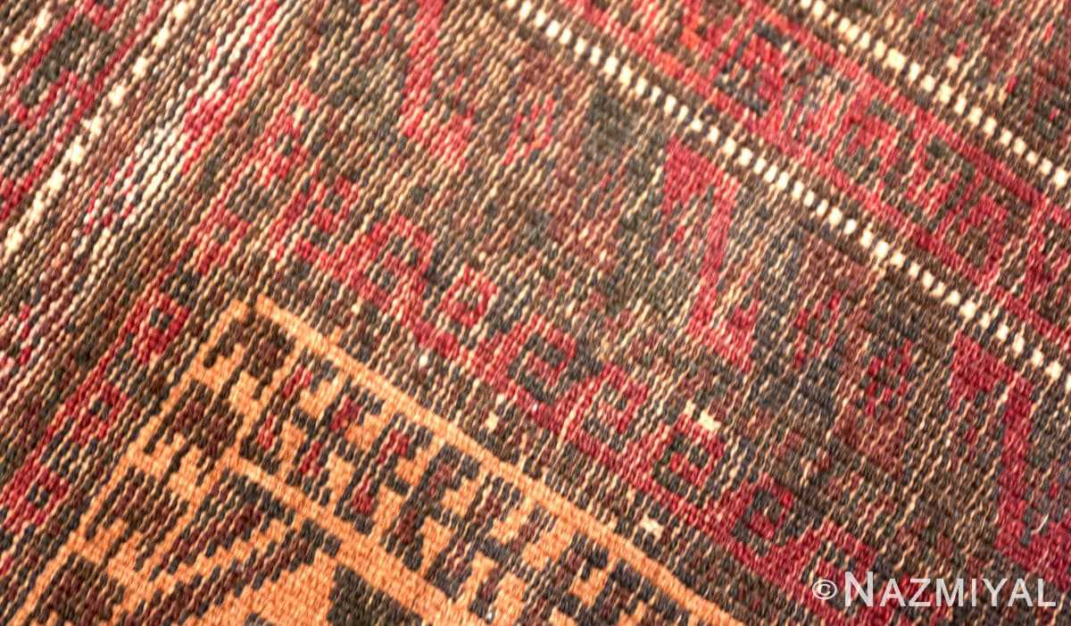 Weave detail Small scatter size Antique Persian Baluch rug 2529 by Nazmiyal