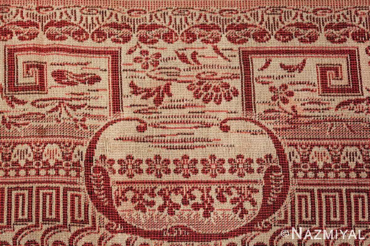 antique american flat woven ingrain rug 2755 vase Nazmiyal