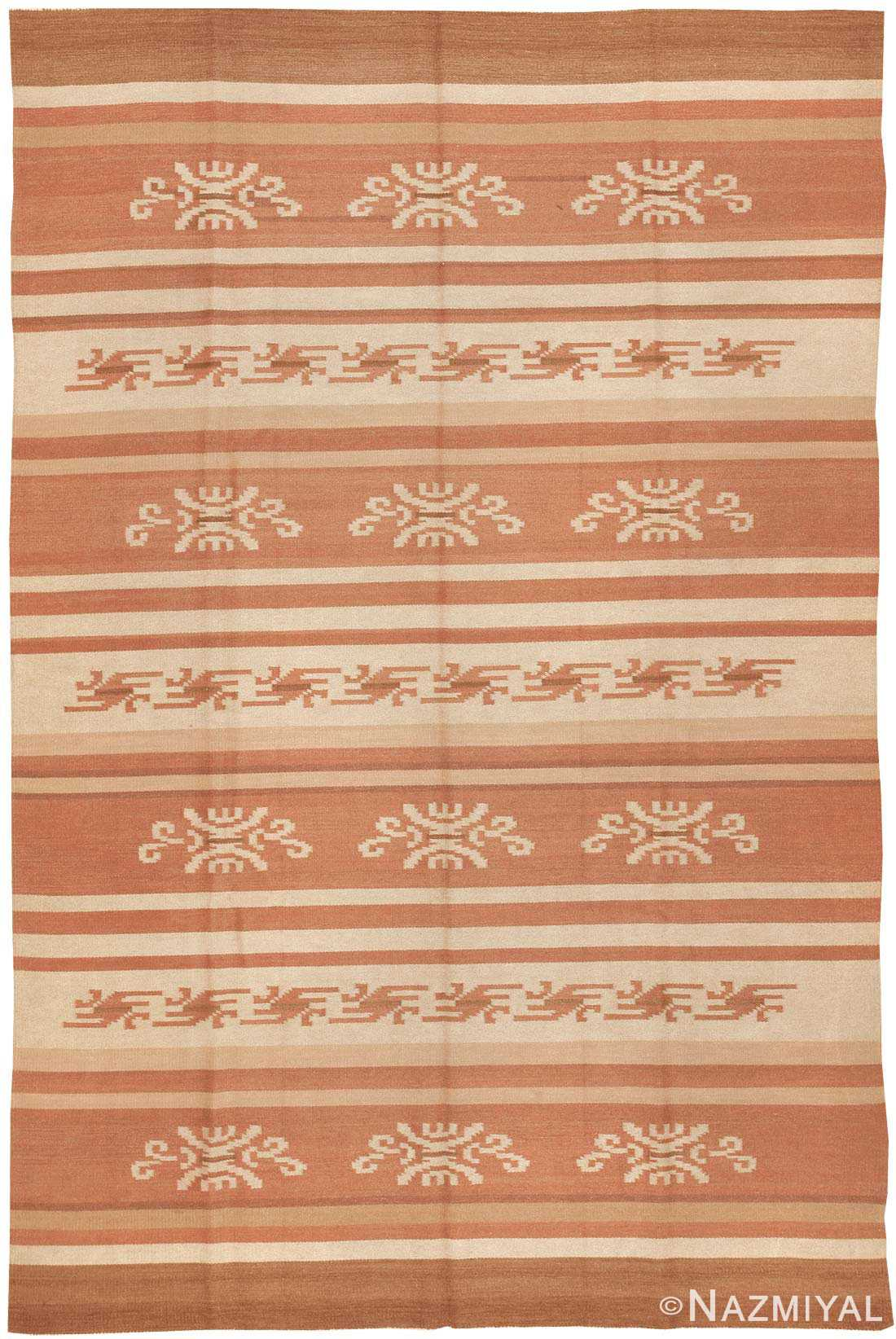 Vintage Swedish Scandinavian Kilim Rug 3381 by nazmiyal