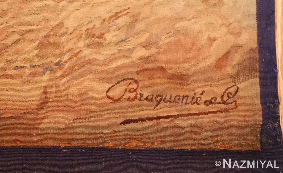 antique french dog tapestry rug 2069 signature Nazmiyal