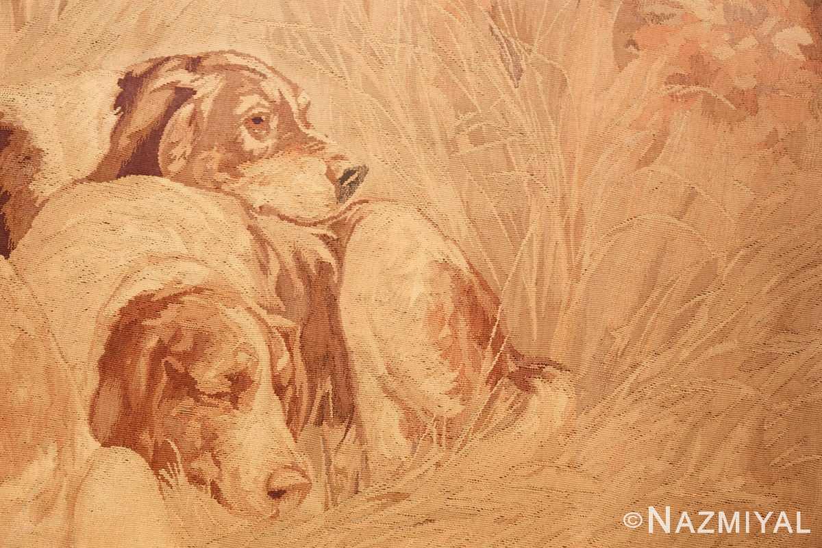 antique french dog tapestry rug 2069 sleeping Nazmiyal