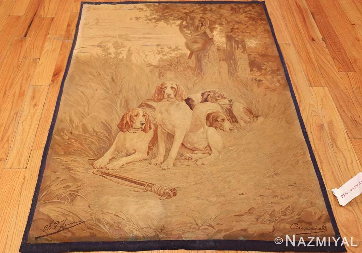 antique french dog tapestry rug 2069 whole Nazmiyal