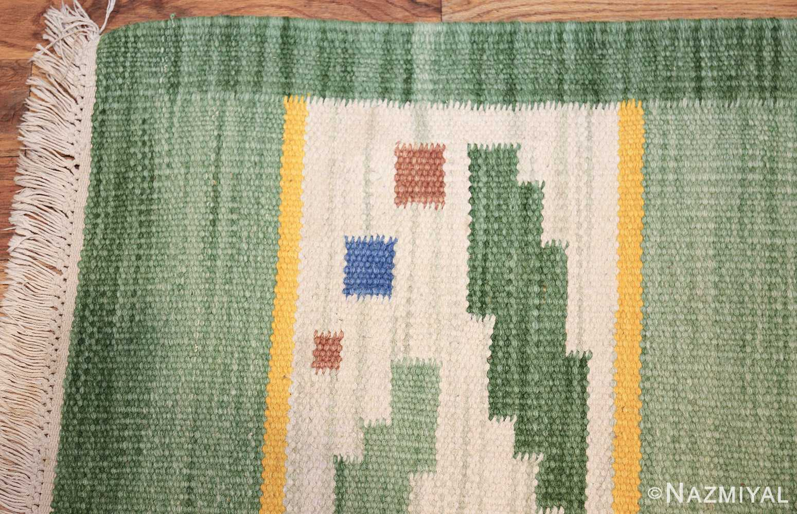 small vintage scandinavian swedish kilim rug 42018 corner Nazmiyal