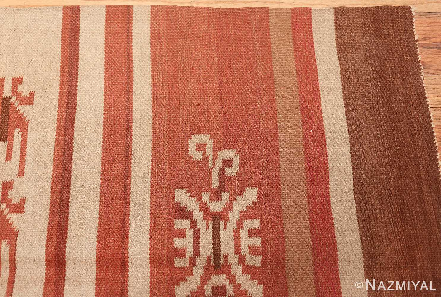 vintage scandinavian swedish kilim rug 3381 corner Nazmiyal