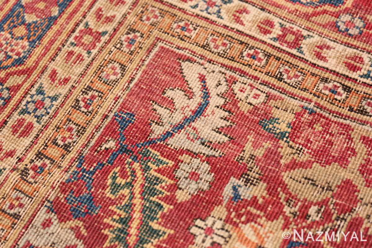 Weave detail Small Scatter Size Red Antique Persian Kerman rug 1150 by Nazmiyal
