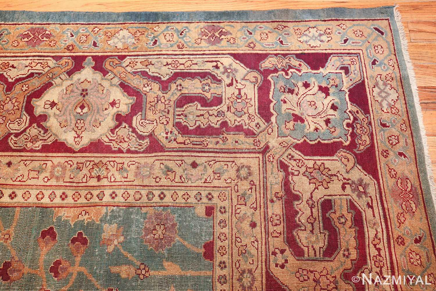 antique agra indian rug 41461 corner Nazmiyal