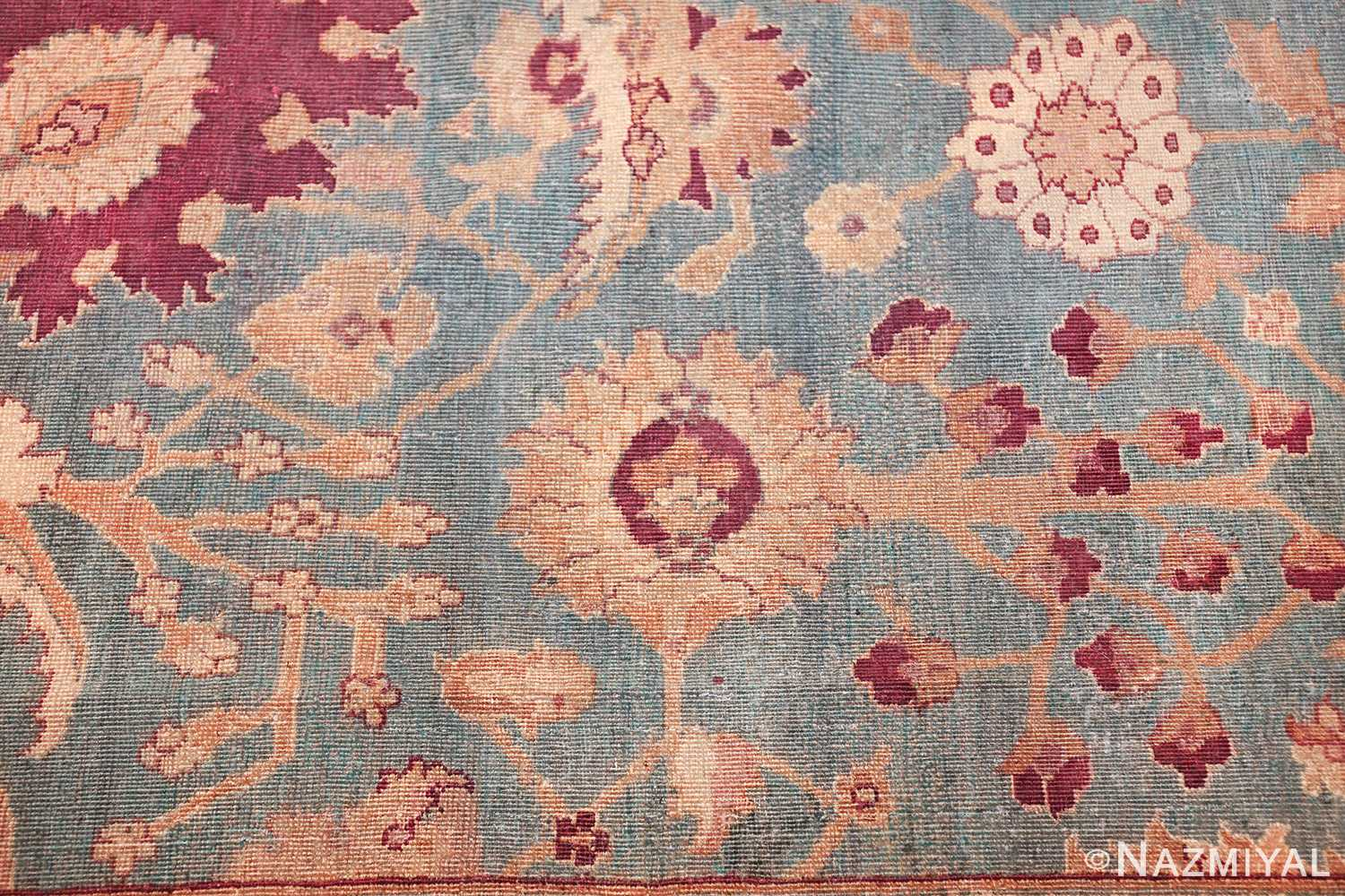 antique agra indian rug 41461 flower Nazmiyal