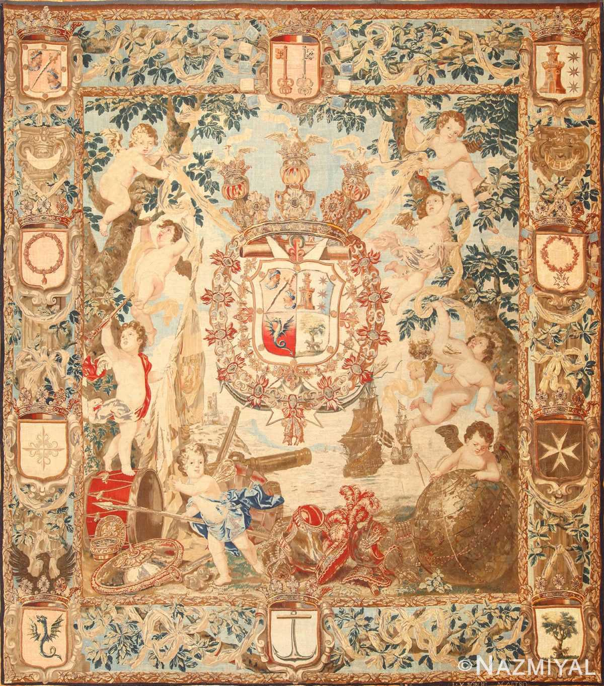 antique flemish heraldic tapestry of a spanish noble admiral 2399 Nazmiyal