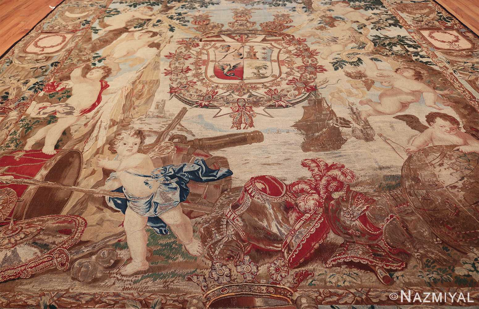 antique flemish heraldic tapestry of a spanish noble admiral 2399 all Nazmiyal