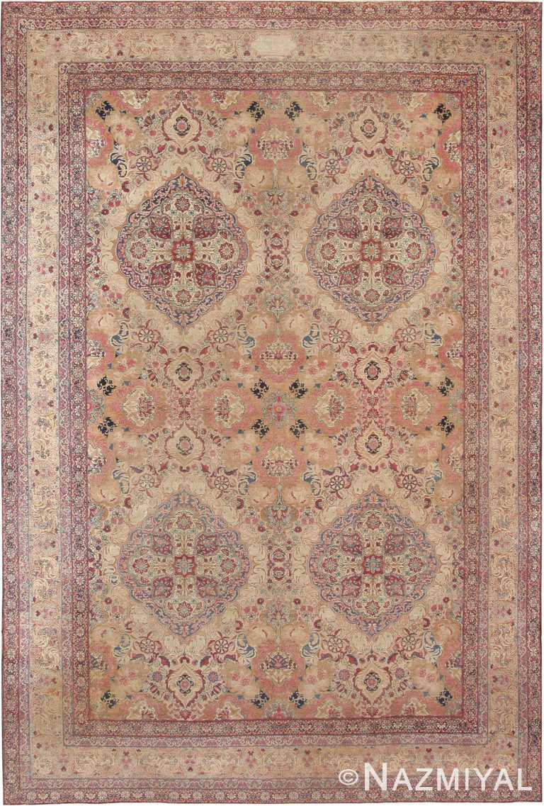 Fine Floral Room Size Antique Persian Kerman Area Rug #42487 by Nazmiyal Antique Rugs