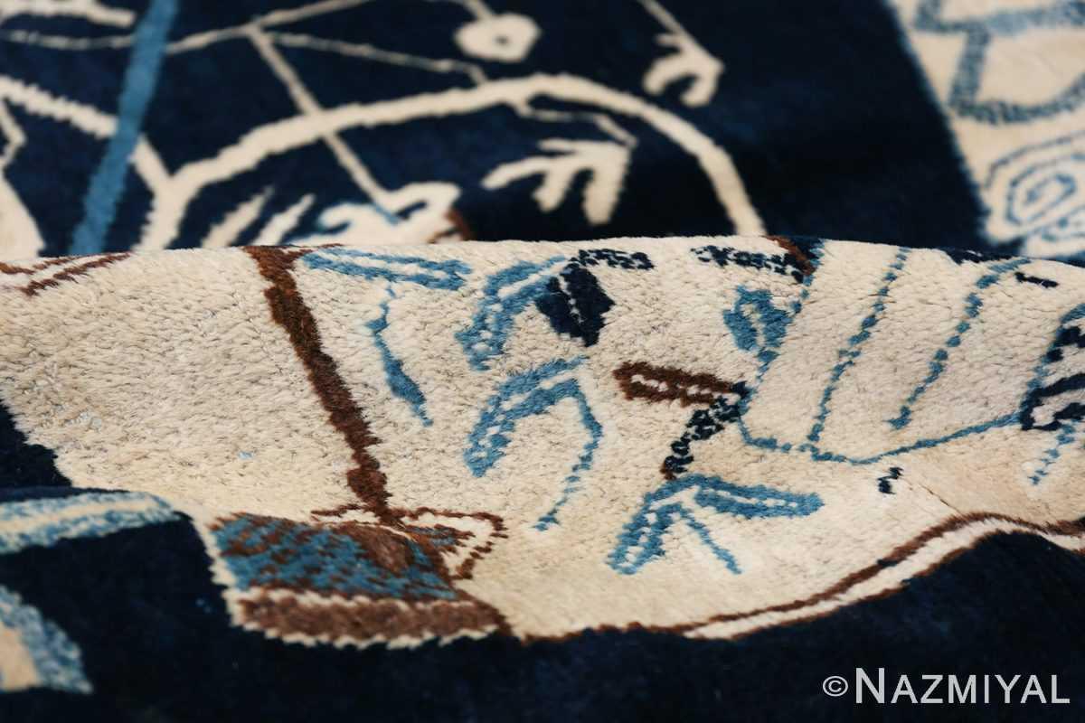 Beautiful Navy Blue Antique Khotan Rug 42447 Ivory Navy Pile Nazmiyal