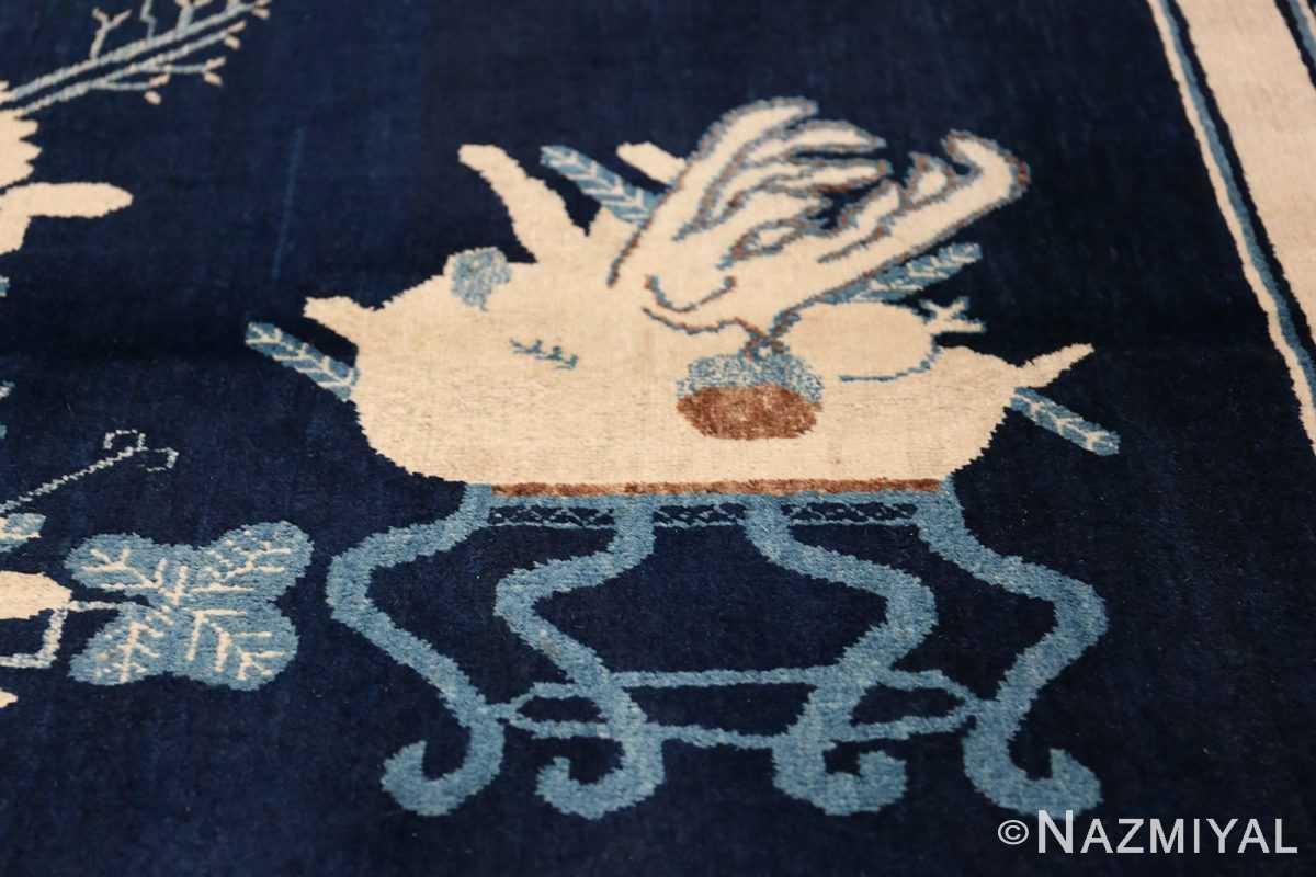 Beautiful Navy Blue Antique Khotan Rug 42447 Round Teapot Nazmiyal