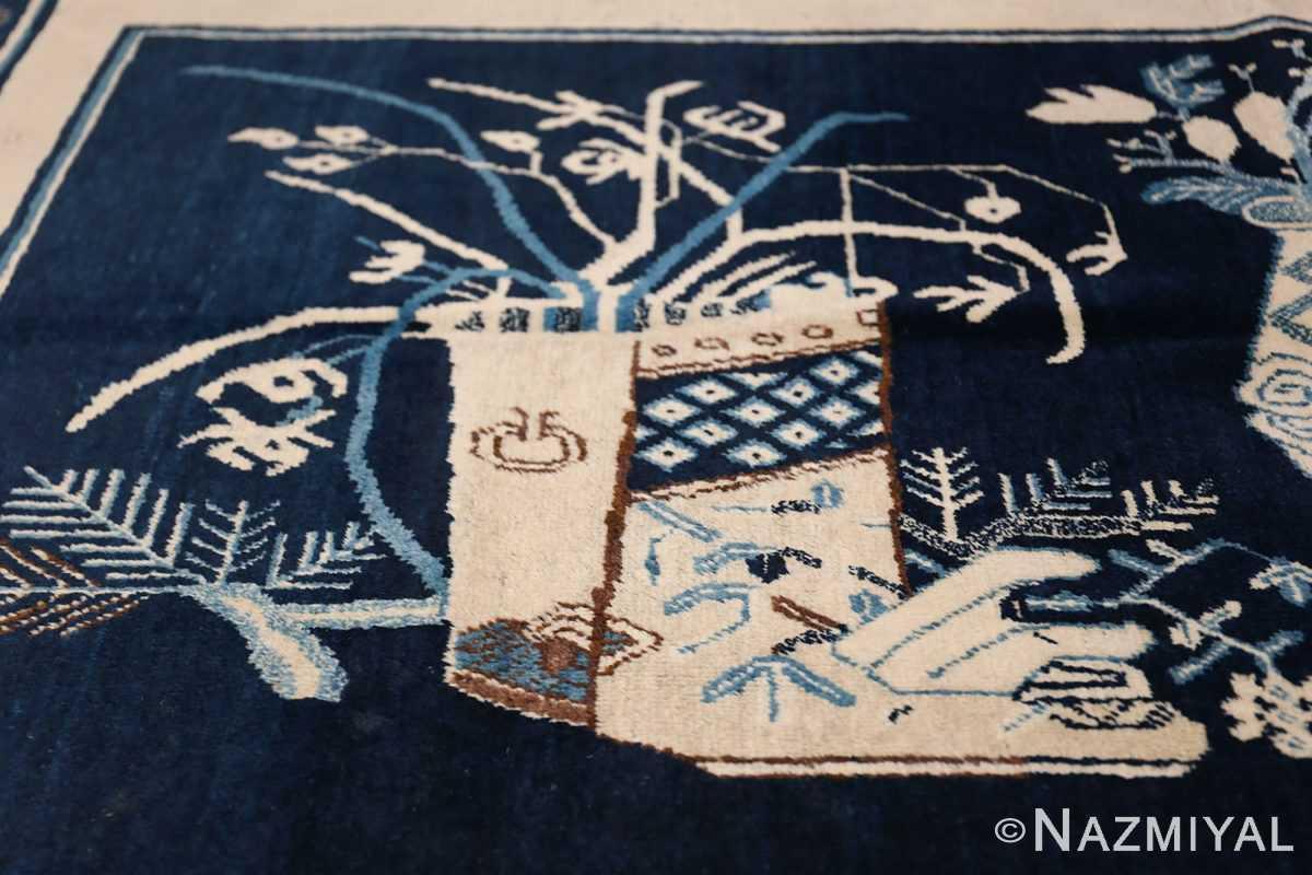 Beautiful Navy Blue Antique Khotan Rug 42447 Square Vase Nazmiyal