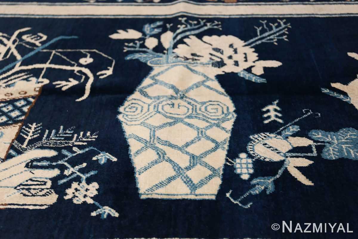 Beautiful Navy Blue Antique Khotan Rug 42447 Tall Ivory Vase Nazmiyal