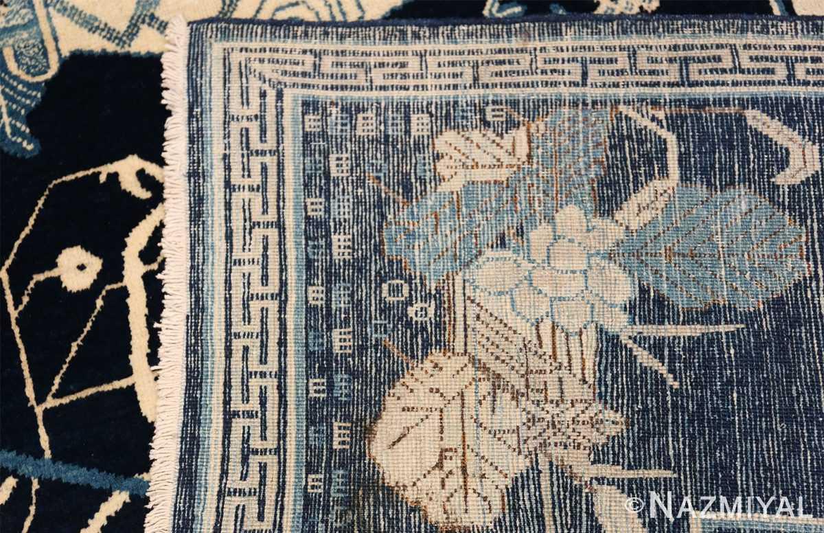 Beautiful Navy Blue Antique Khotan Rug 42447 Woven Knots Nazmiyal