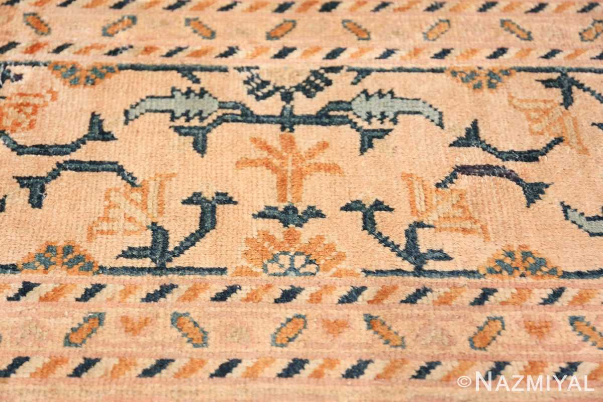 Rare Room Size Antique Khotan Rug 538 Orange Border Flower Nazmiyal