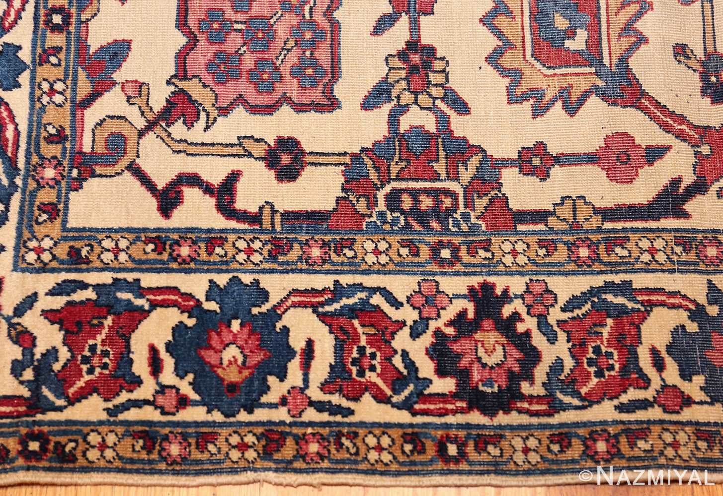 small scatter size antique persian kerman rug 42480 border Nazmiyal