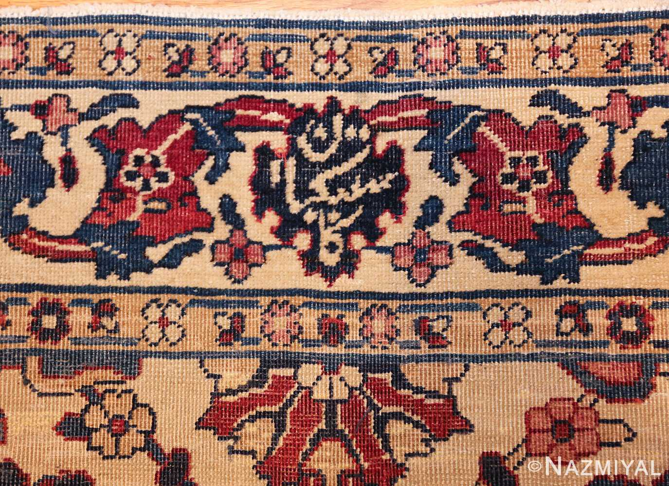 small scatter size antique persian kerman rug 42480 signature Nazmiyal