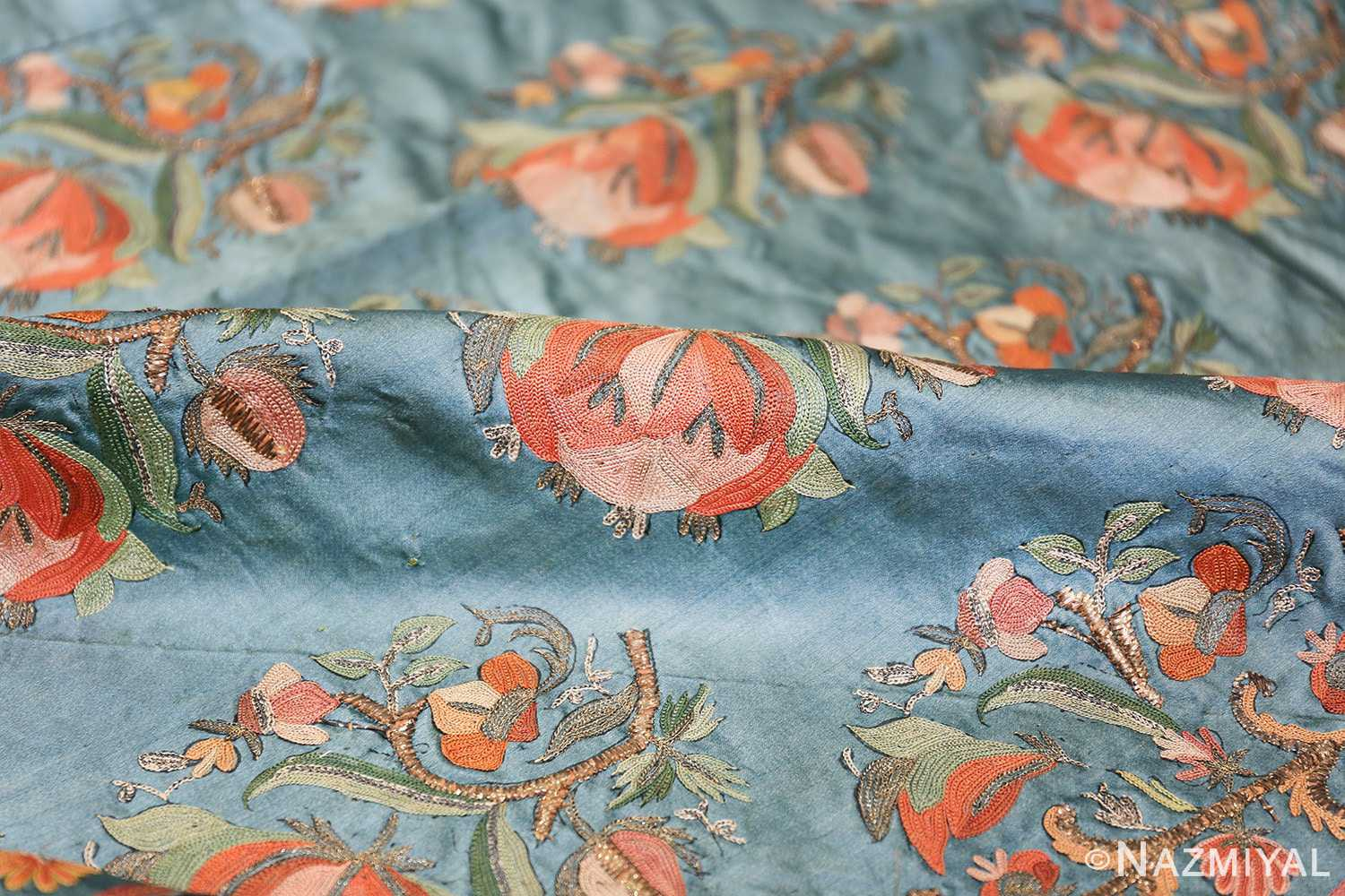 Collectible Antique Ottoman Silk Embroidery 42621 Floral Pile Nazmiyal