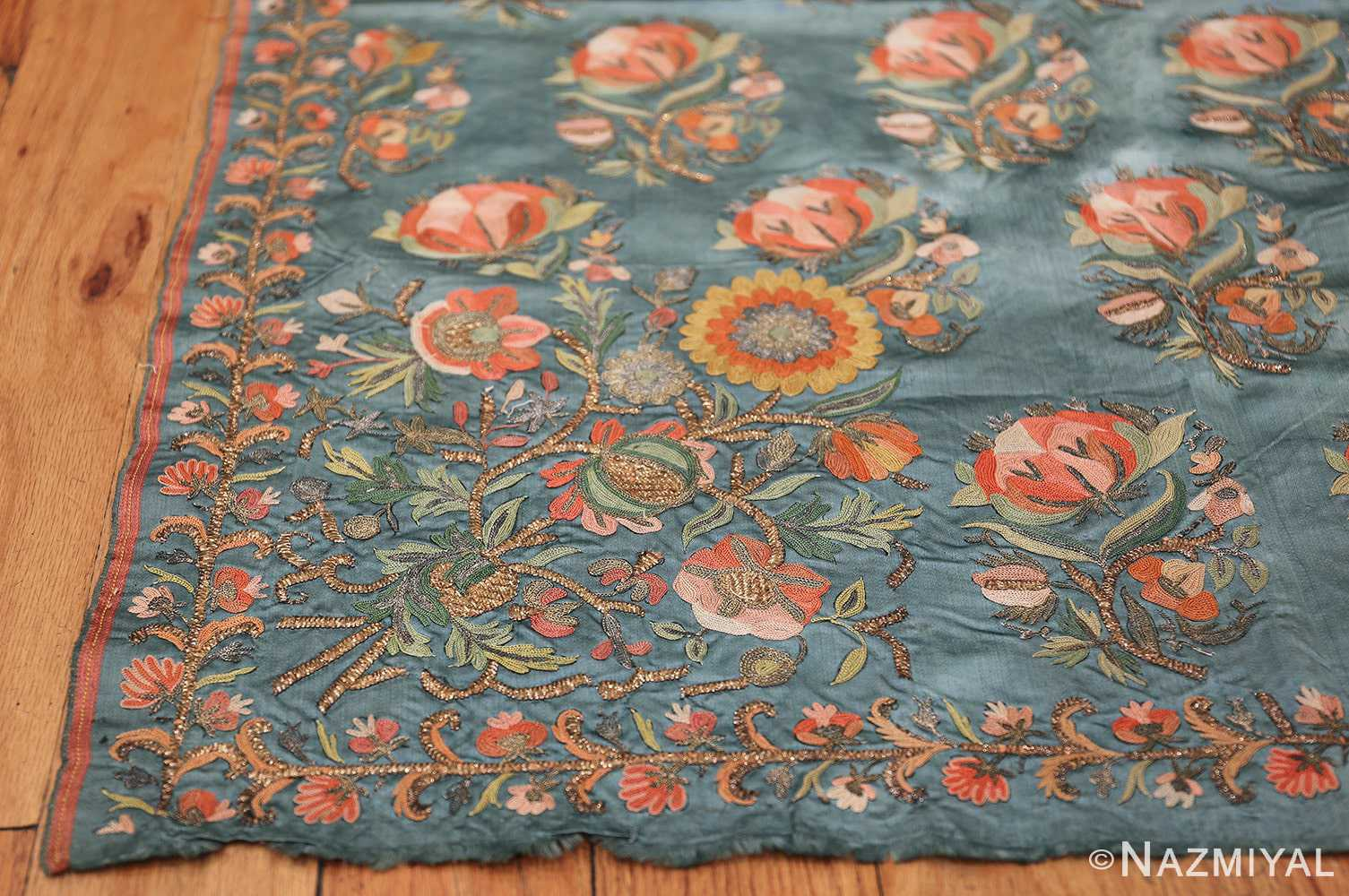 Collectible Antique Ottoman Silk Embroidery 42621 Side Corner Nazmiyal
