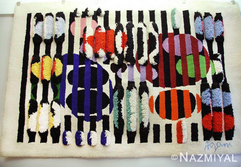 vintage deco wall tapestry rug by yaacov agam 42736 hanging Nazmiyal