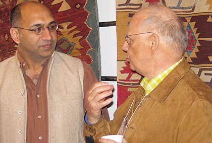 Shiv Sikri and Allen Freedman at Antique Kilim Exhibit at Nazmiyal