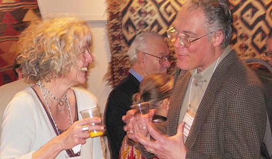 Barbara Davis and Christopher Andrews at Antique Kilim Exhibit at Nazmiyal