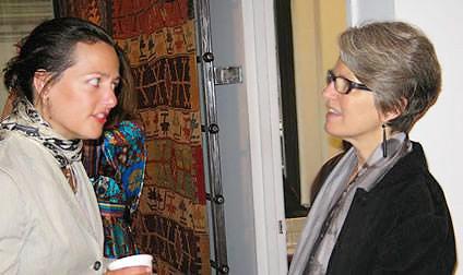 Catherine Bennion and Mary Jo Otsea at Antique Kilim Exhibit at Nazmiyal