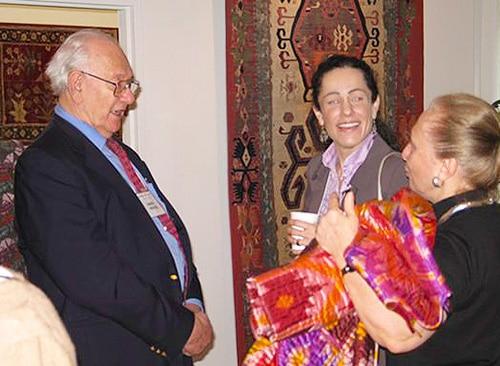 Daniel Nadler and Ladan Akbarnia at Antique Kilims Exhibit at Nazmiyal