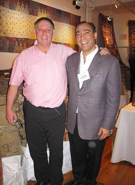 Danny Shaffer and Jason Nazmiyal at Antique Kilims Exhibit at Nazmiyal