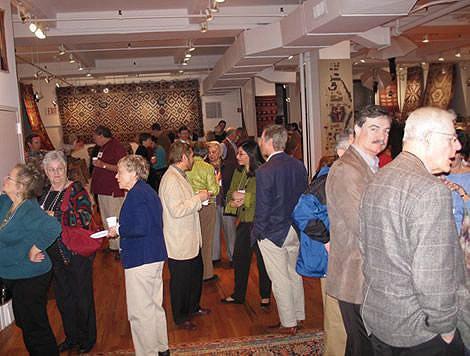 David Castriota, Emily Kiefer, Michael Kiefer, right, Roger Pratt at Antique Kilims Exhibit at Nazmiyal