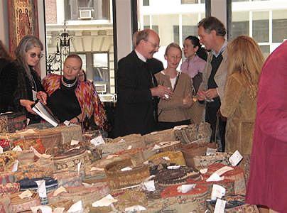 Dr. Jon Thompsom at Antique Kilims Exhibit at Nazmiyal