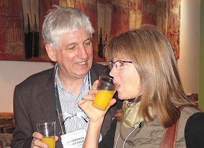 Giammaria Zanderighi and Paula Krugmeier at Antique Kilims Exhibit at Nazmiyal