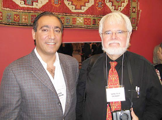Jason Nazmiyal and Walter Denny at Antique Turkish Kilim Exhibit at Nazmiyal