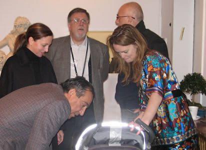 Jason Nazmiyal, Alberto Boralevi , Betsy Murphy, Karin and Moshe Tabibnia, and Baby Tabibnia at Antique Turkish Kilim Exhibit at Nazmiyal