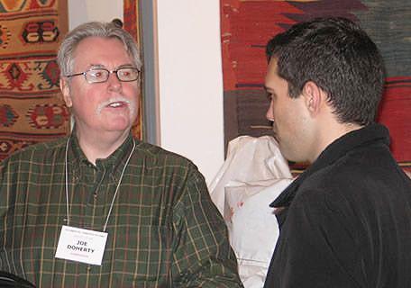 Joe Doherty and Michael Chagnon at Antique Turkish Kilim Exhibit at Nazmiyal