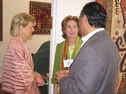 Klara Nagy and Jason Nazmiyal at Antique Turkish Kilim Exhibit at Nazmiyal
