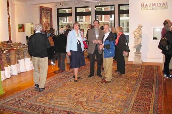 Kristin McCarthy and Roger Prat at Antique Turkish Kilim Exhibit at Nazmiyal