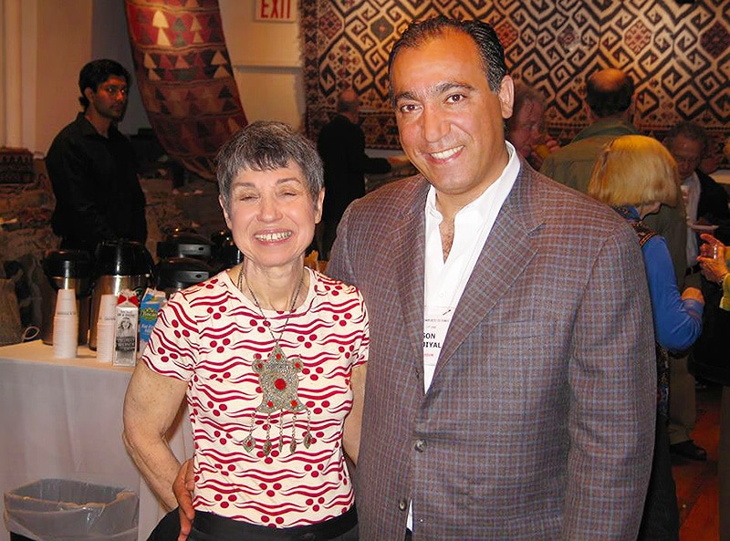 Marilyn Wolf and Jason Nazmiyal at Antique Turkish Kilim Exhibit at Nazmiyal