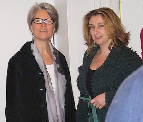 Mary Jo Otsea and Judith Glass at Antique Anatolian Kilim Exhibit at Nazmiyal