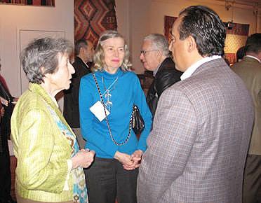 Sally Sherill and Jason Nazmiyal at Antique Anatolian Kilim Exhibit at Nazmiyal