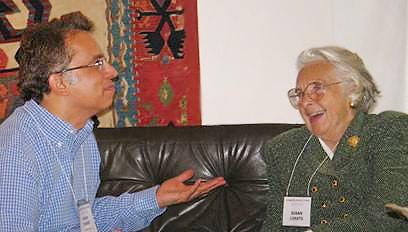 Vinay Pande and Susan Lukats at Antique Anatolian Kilim Exhibit at Nazmiyal