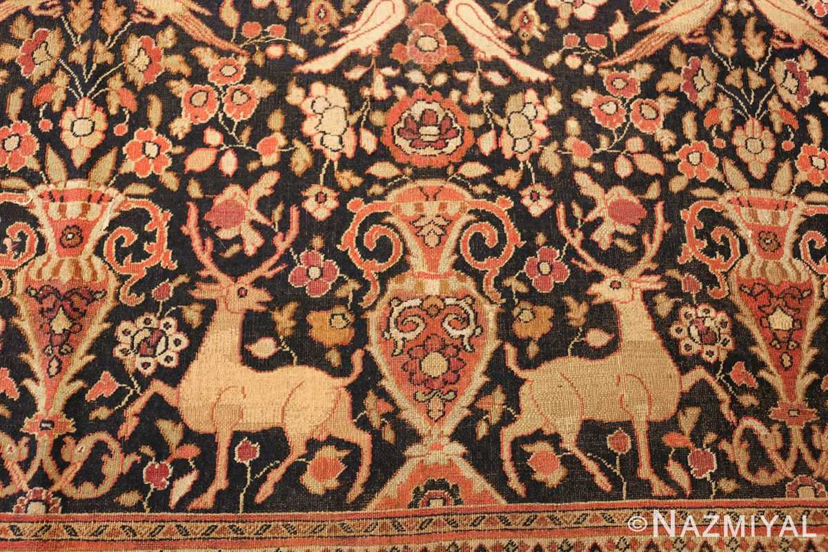 antique khorassan persian rug 3244 deers Nazmiyal