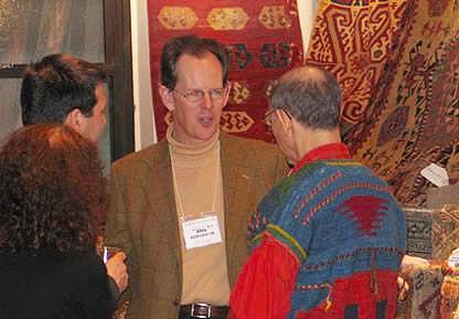 William Robinson of Christie's London at Antique Anatolian Kilim Exhibit at Nazmiyal