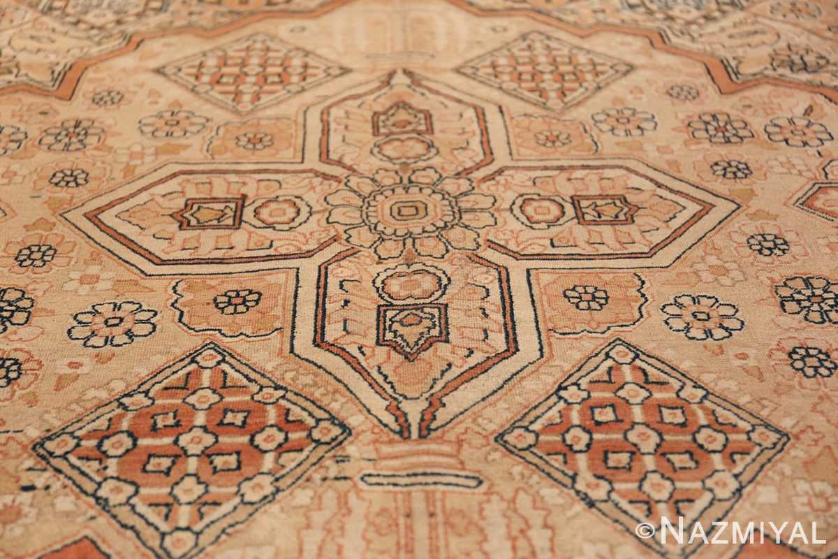 Antique Cream Color Persian Kerman Rug 42611 Central Medallion Nazmiyal
