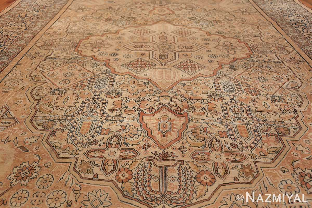 Antique Cream Color Persian Kerman Rug 42611 Field Design Nazmiyal
