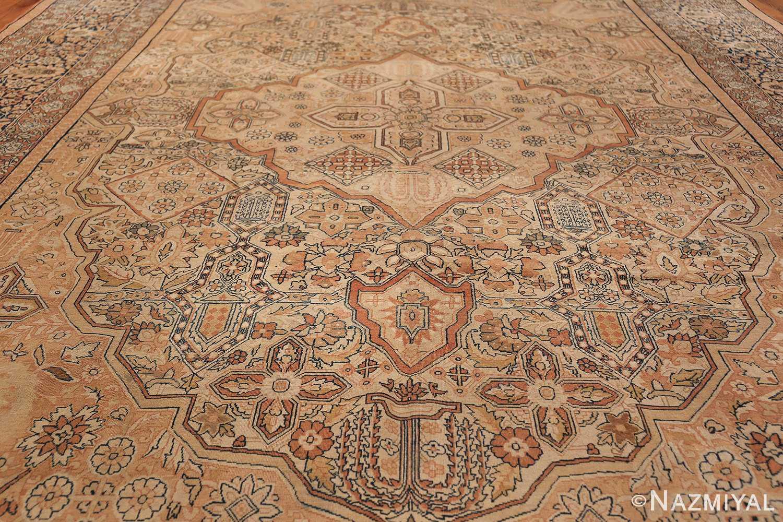 Antique Cream Color Persian Kerman Rug 42611 Field Design Nazmiyal