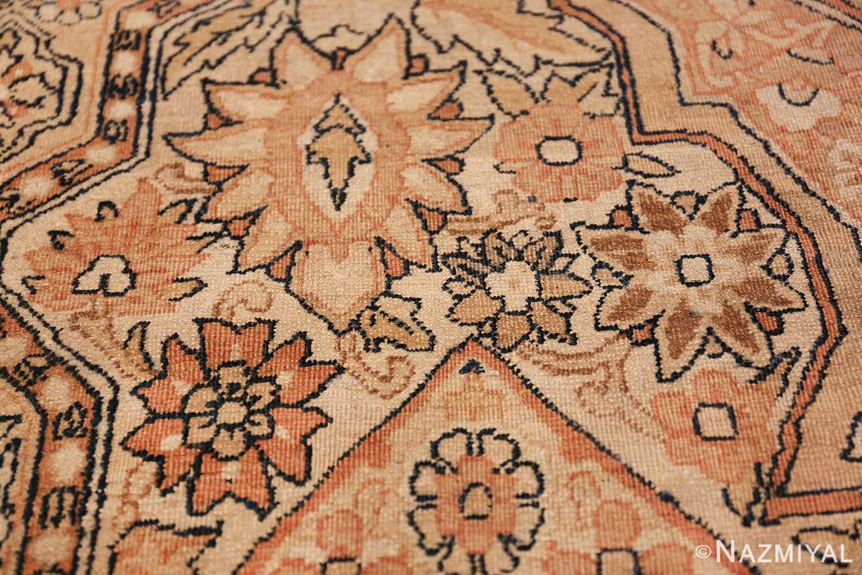 Antique Cream Color Persian Kerman Rug 42611 Flowers Array Nazmiyal