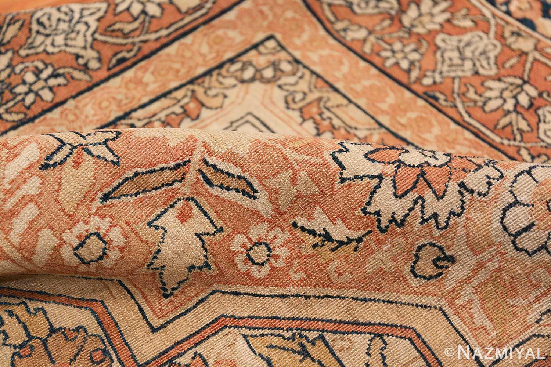 Antique Cream Color Persian Kerman Rug 42611 Geometric Pile Nazmiyal